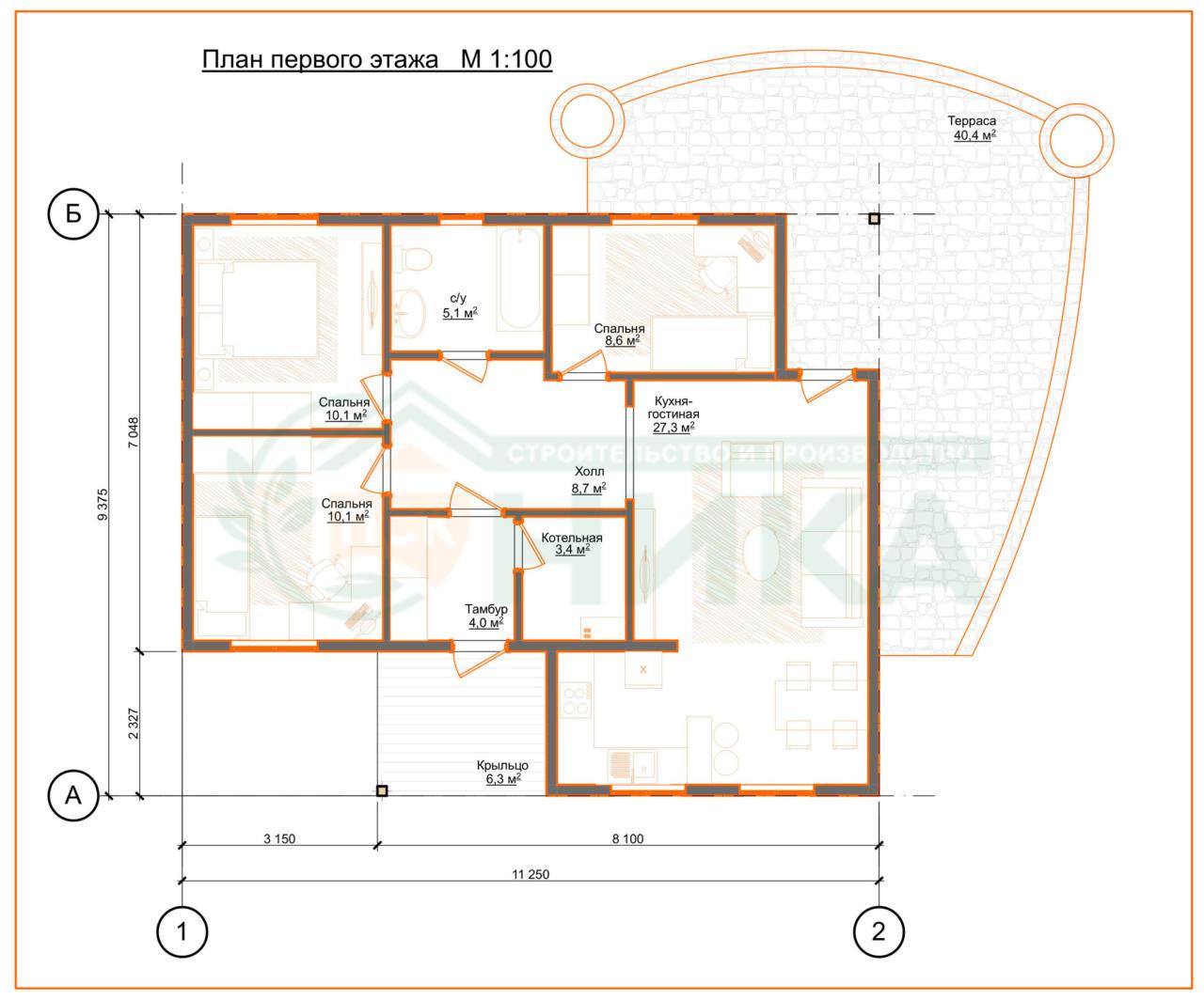 Схема комнат по проекту дома фасил