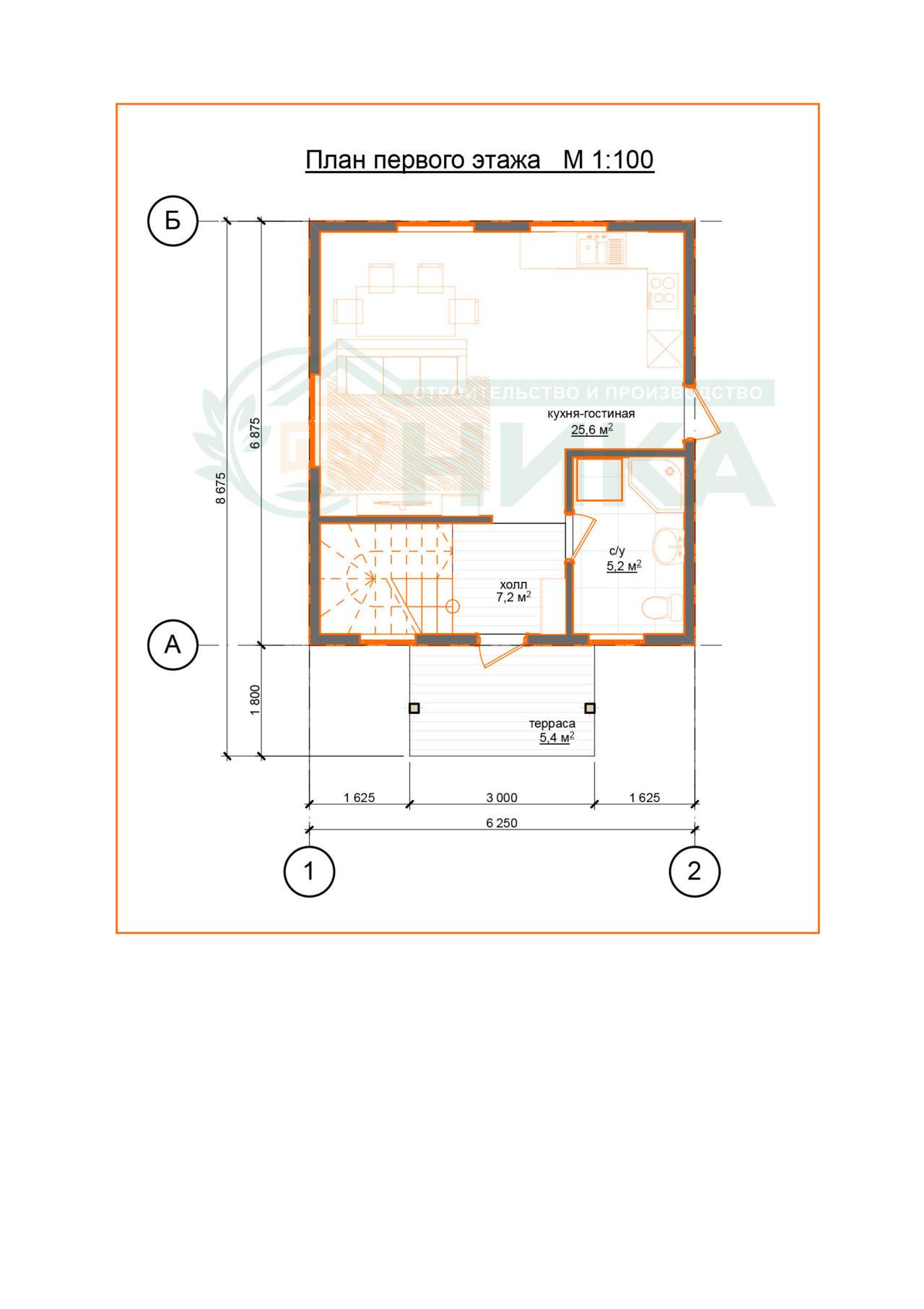 """План первого этажа проекта дома """"Гранд"""""""