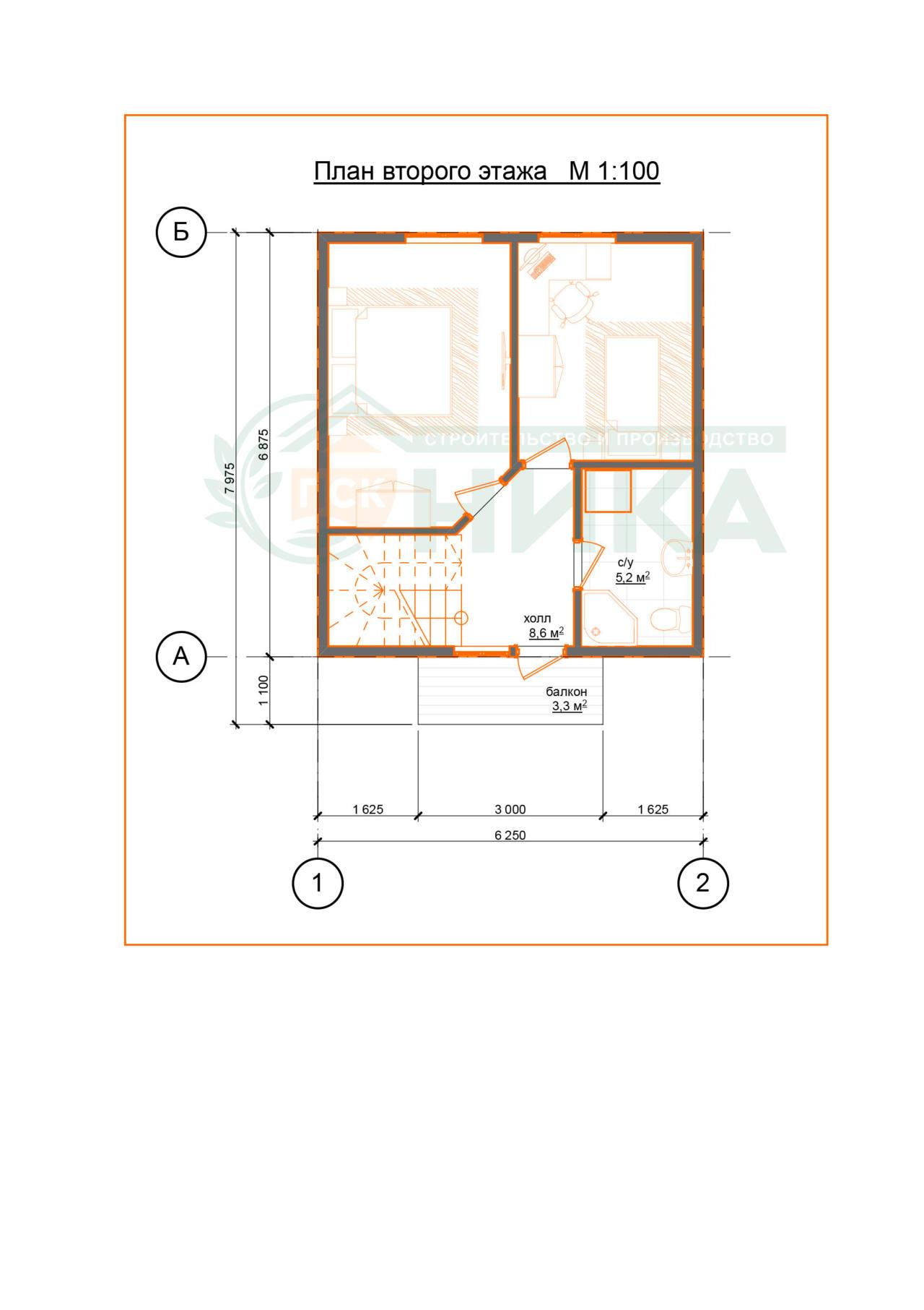 """План второго этажа проекта дома """"Гранд"""""""