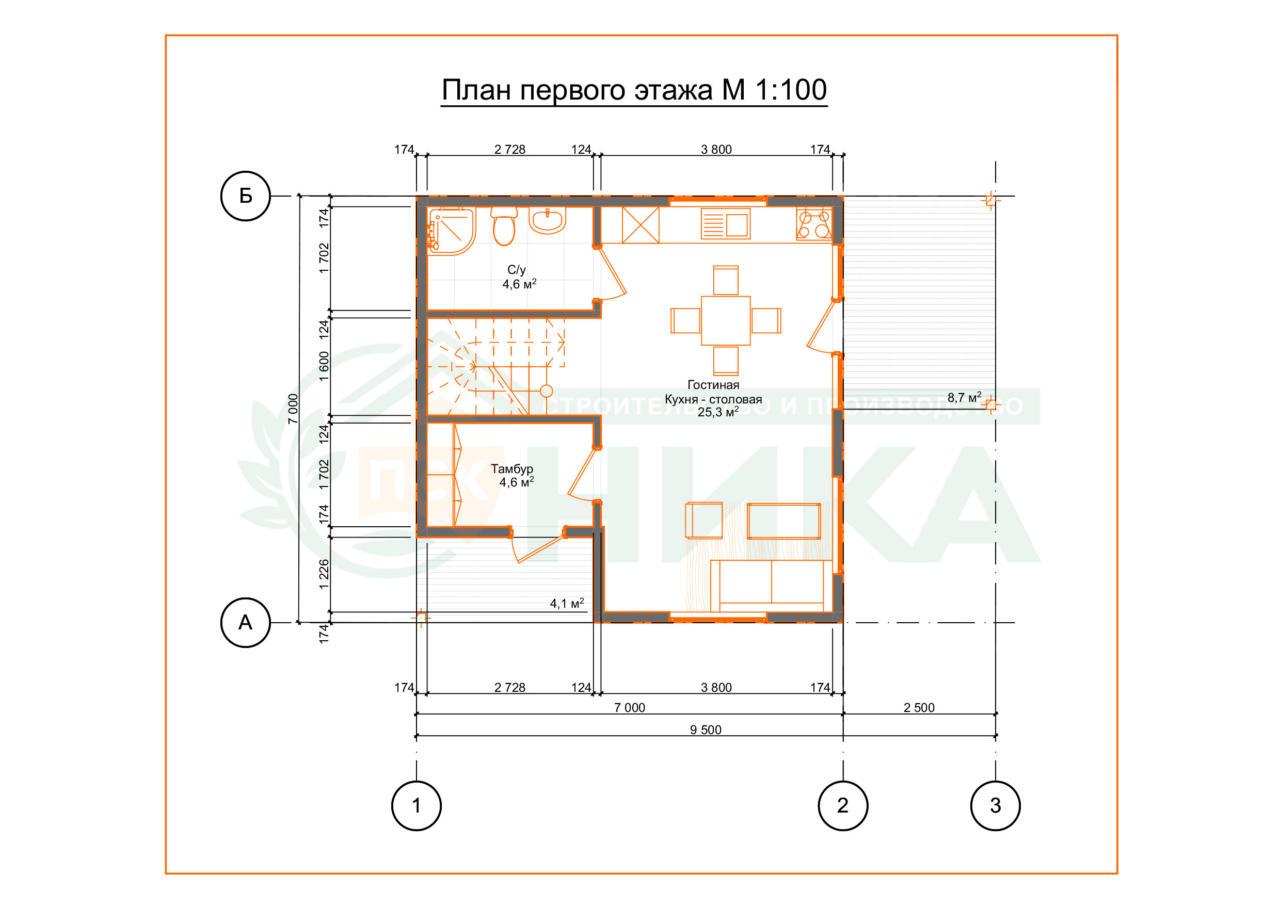 План первого этажа по проекту Силва от ПСК НИКА