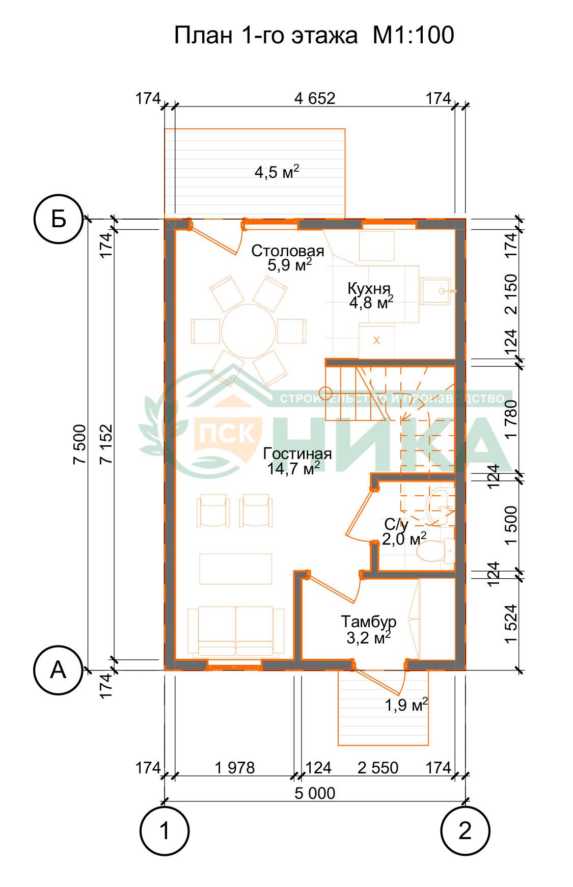 План первого этажа Таунхаус