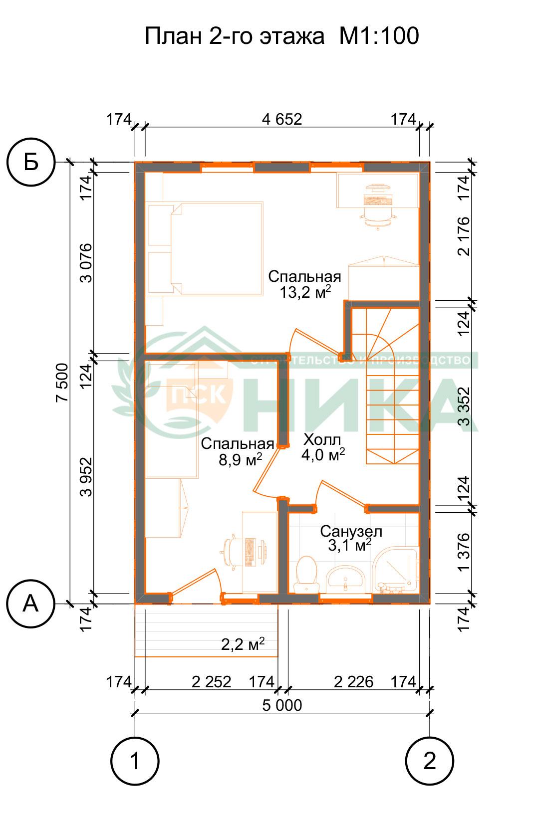 План второго этажа из СИП панелей Таунхаус