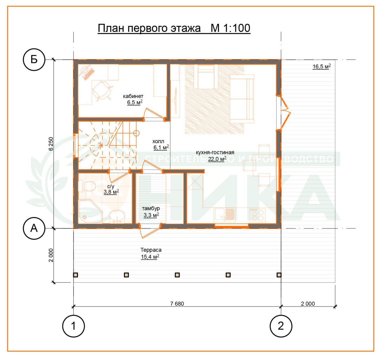 План первого этажа по проекту Терем.