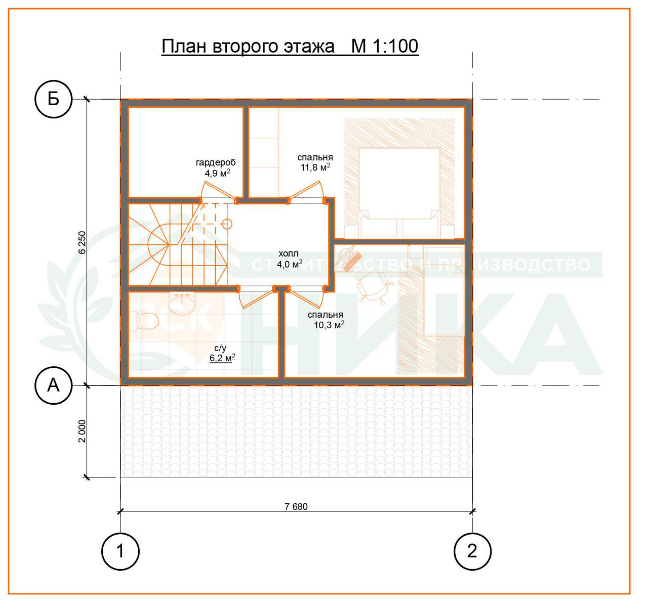 План второго этажа по проекту Терем