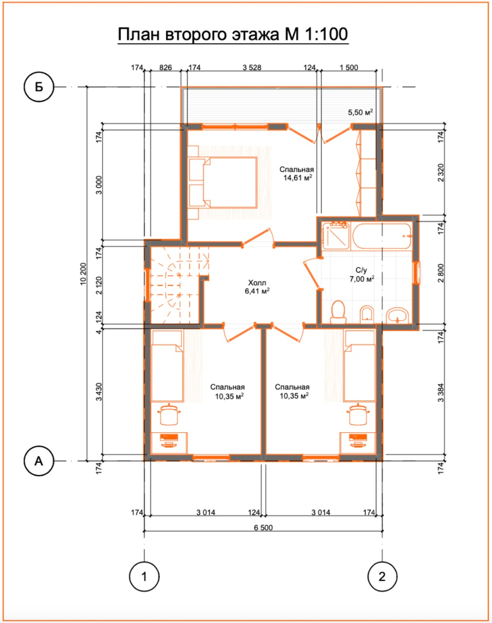 План второго этажа по проекту Гираторий