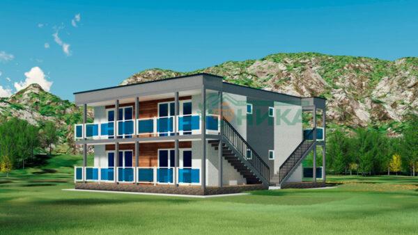Визуализация проекта гостиницы из СИП панелей на 8 студий