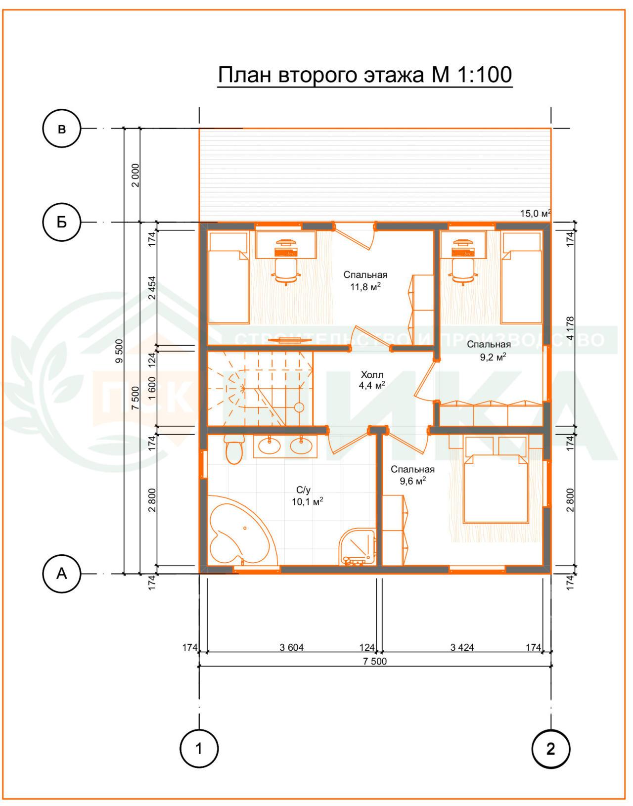 """План второго этажа проект """"Лидер"""" 112 м2"""