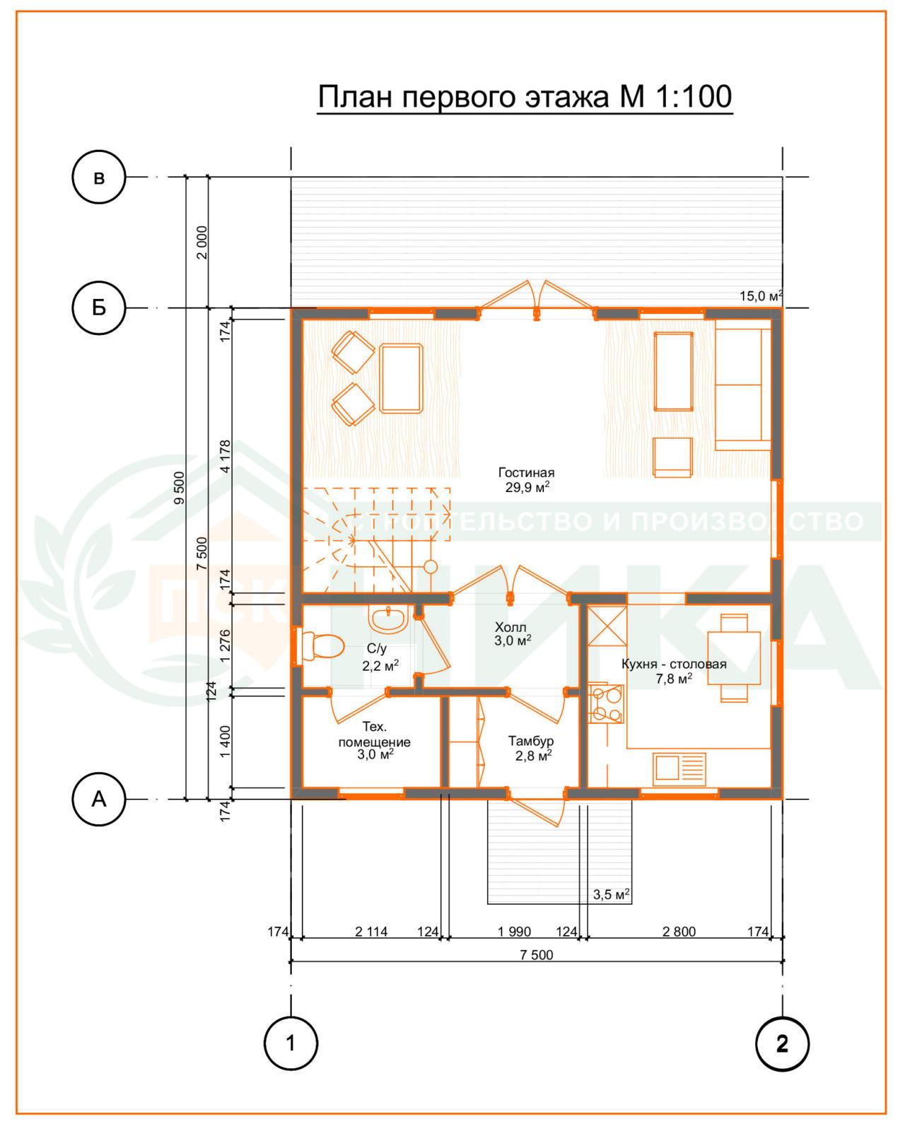 """План первого этажа проект """"Лидер"""" 112м2"""