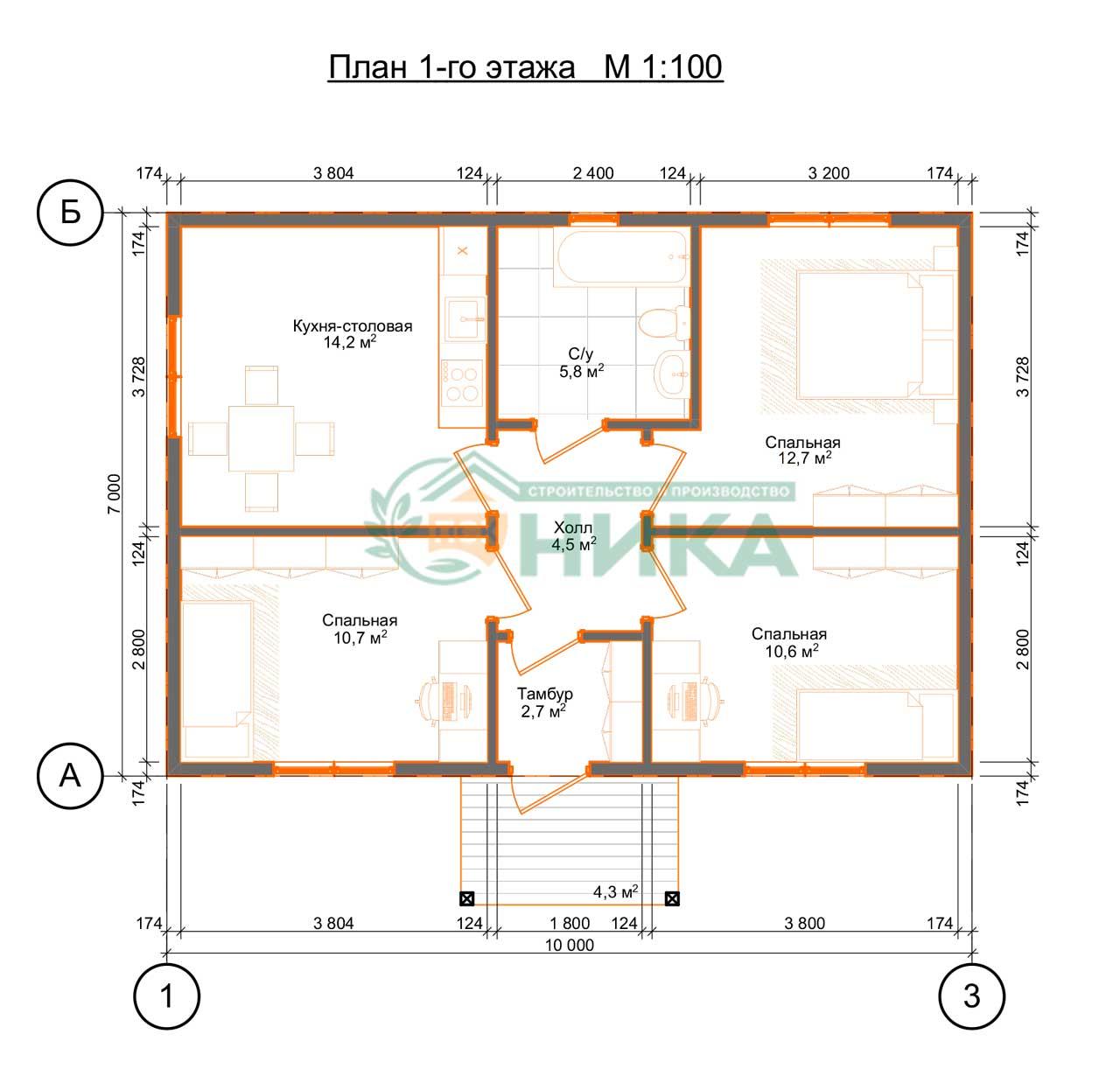 План дома Мадлен на 3 спальни