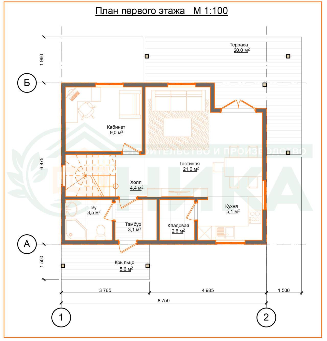 План дома Викторина. Первый этаж