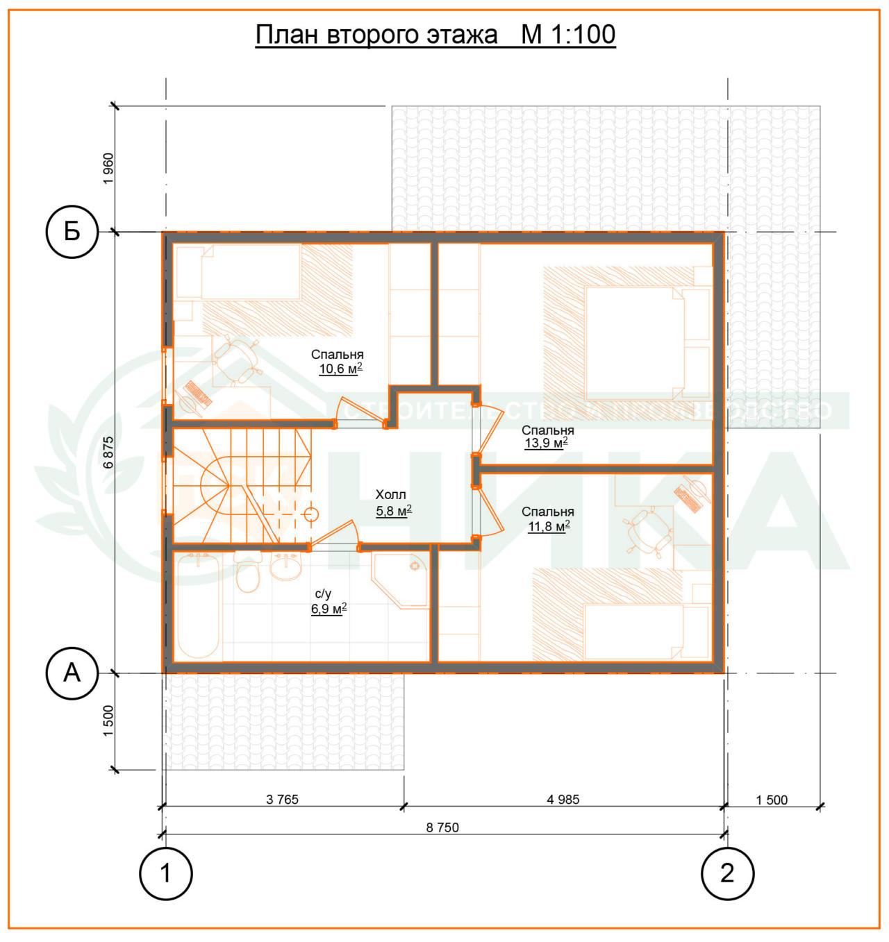 План дома Викторина. Второй этаж