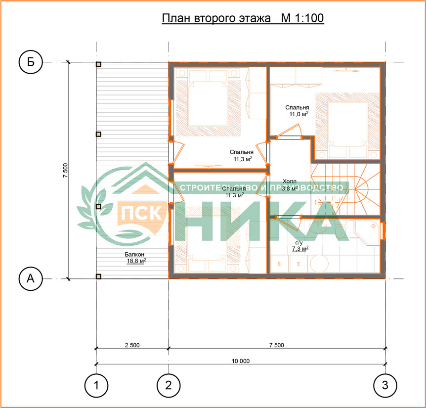 """План дома по проекту """"Семейный"""""""