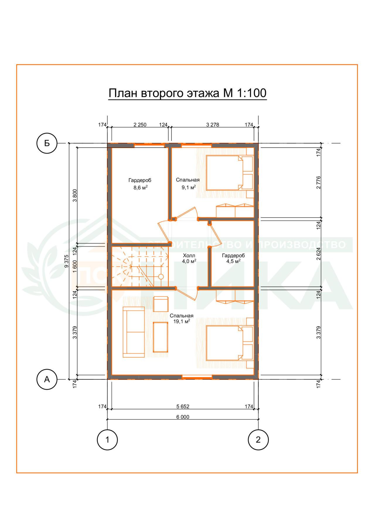 План дома Универсал. Второй этаж