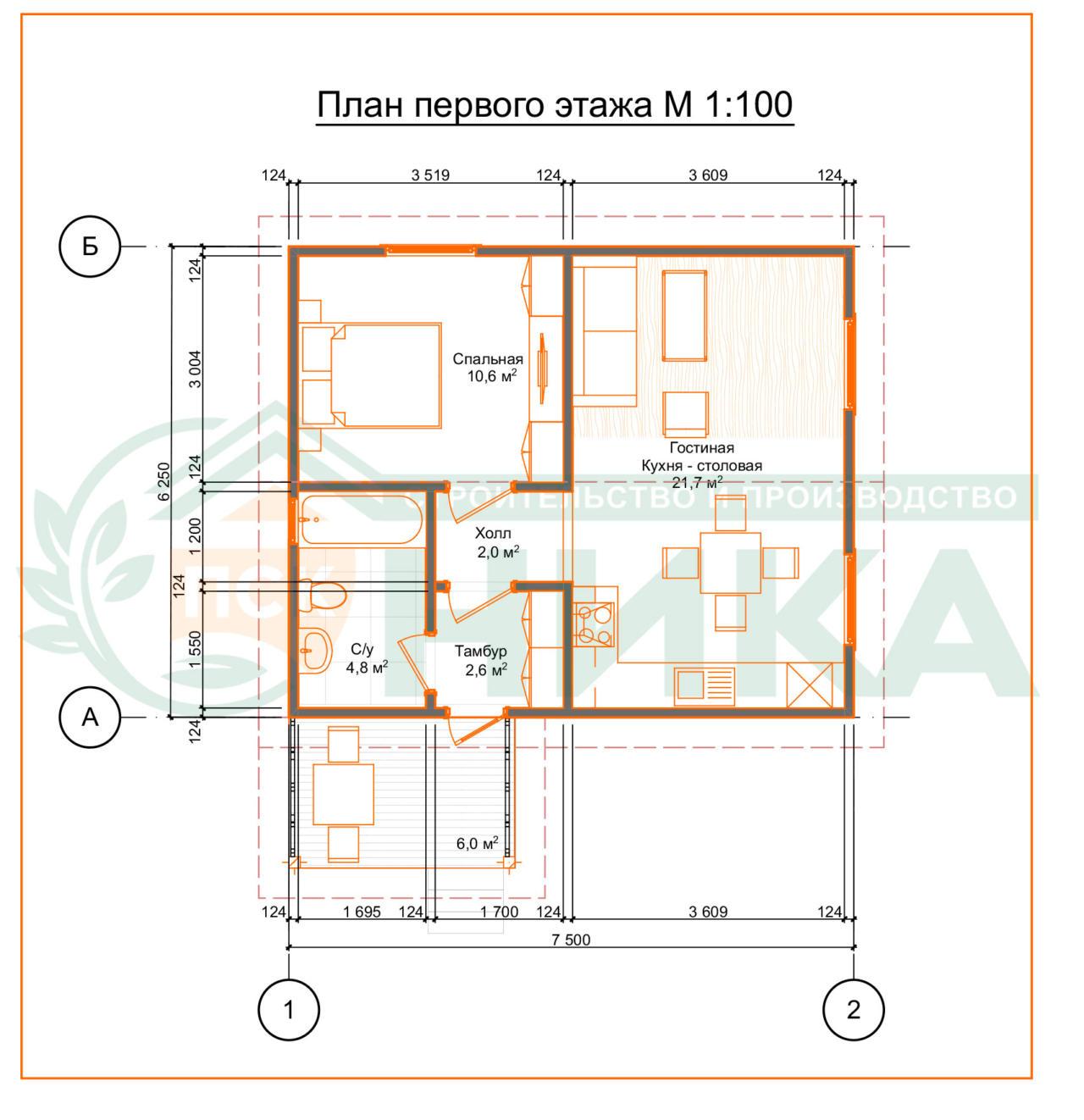 План этажа по проекту Мансур