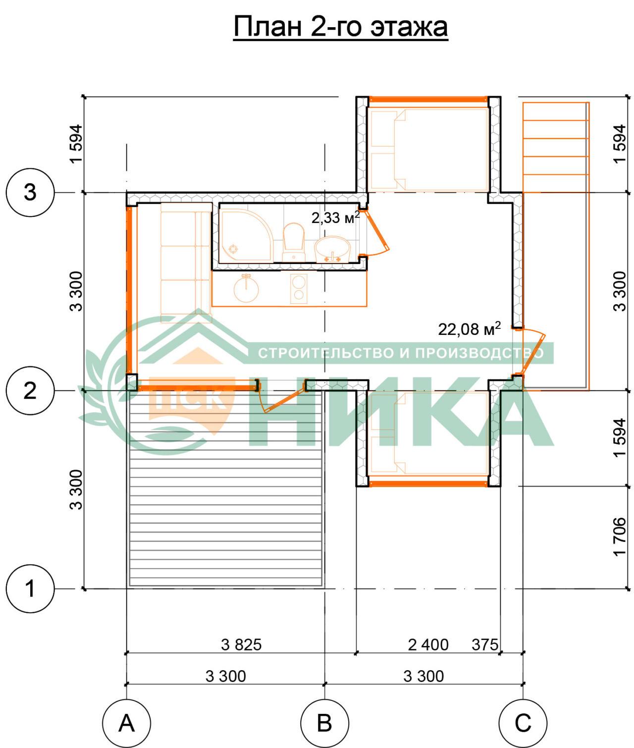 План второго этажа проекта Панорамы Коктебеля