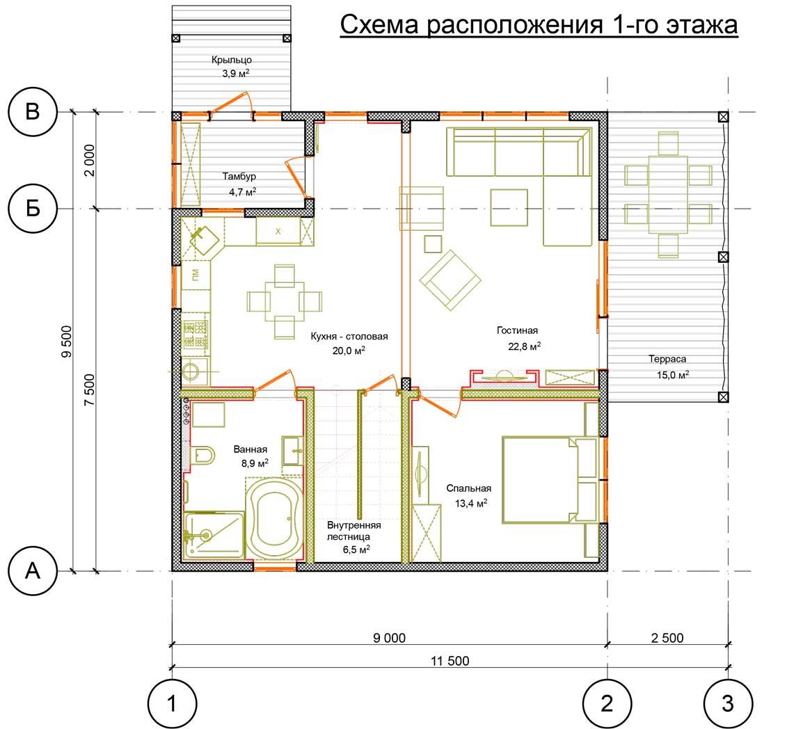 План первого этажа проект Орфей