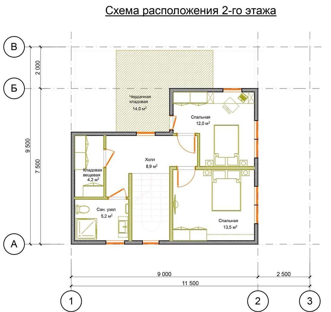 План второго этажа проект Орфей