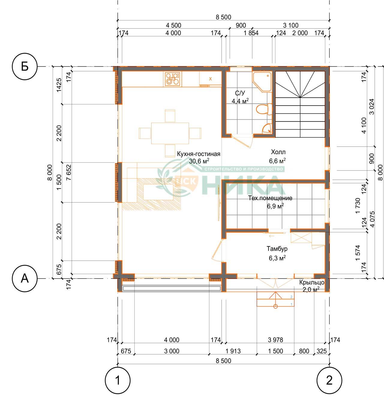 План первого этажа дома из СИП панелей Атлант