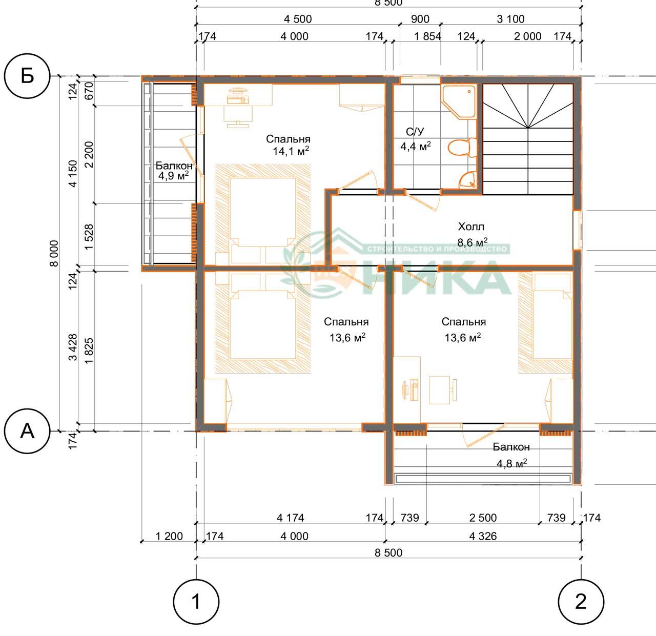 План второго этажа дома из СИП панелей Атлант